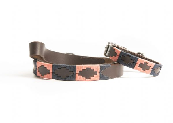Argentine Hand Embroidered Dog Collar and Lead Bundle Pink/Navy